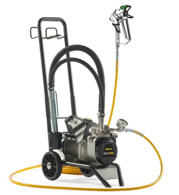 Pompa airless profesionala SuperFinish 23 PRO Cart HEA, Motor 230V, 2,2 kW, debit material 2,6 l/min.