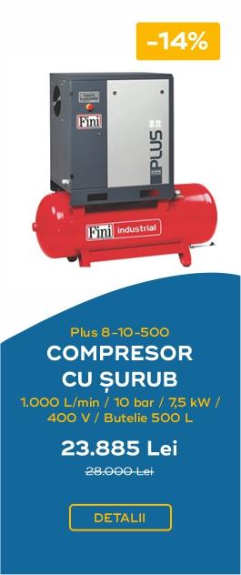 COMPRESOR CU SURUB 1000L MIN10BAR 7 5KW 400V BUTELIE 500L PLUS8 10 500